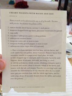 Creamy Polenta with Bacon and Sage