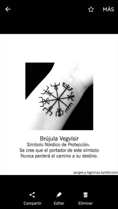 Brujula Love Tattoos, Beautiful Tattoos, New Tattoos, Body Art Tattoos, Tatoos, Rune Tattoo, Compass Tattoo, Nordic Tattoo, Vegvisir
