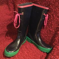 Adorable J. Crew Rain Boots 9 GUC Overall decent condition, tons of life yet. Soles & shoe strings show light wear, but some tire polish would shine these right up. Only issue is a couple of very small cracks where the foot bends (pic 4). Not sure why that happened but were i keeping I'd put some duct tape on the inside & call it a day. Not noticeable unless you're looking & price will reflect. I have TONS more high end to list so please check out rest of my stuff! The more you buy, the…