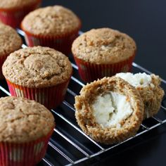 These delicious carrot cake muffins have the cream cheese frosting baked inside!
