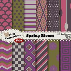 Each digital paper packs (12 sheets) are $1.  See more at www.FoxyExpressions.com Spring Bloom Digital Paper Pack comes in stripes, polka dots, checkers, chevron, flowers, scales and spoons. Purple, pink,cream,gray & green  This pack is great for scrapbo... #sale #foxydesign #foxyexpress