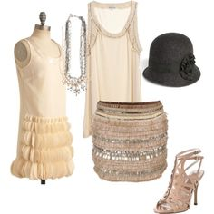 20s inspired outfit- something like this to party in with an extravagant dress for the dinner and cake
