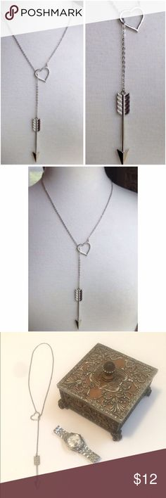 Heart • And • Arrow • Necklace Adorable silver arrow through the heart necklace. Jewelry Necklaces