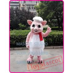 Pink Pig Chef Mascot Costume Cartoon Anime Cosplay Pig Costumes, Mascot Costumes, Goofy Dog, Adult Children, Black Panther, Cartoon Characters, Puppets, Soft Fabrics, Teddy Bear