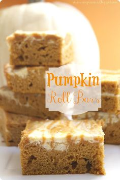 Pumpkin Roll Bars : The Recipe Critic. These are delicious and easy without all of the hard work of a pumpkin roll! My favorite pumpkin dessert! (use gluten free baking mix) Pumpkin Recipes, Fall Recipes, Sweet Recipes, Holiday Recipes, Keto Recipes, Köstliche Desserts, Delicious Desserts, Dessert Recipes, Dessert Healthy