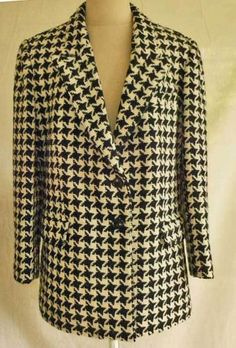 Bill Blass Vintage 70s NOS Jacket Coat Wool Houndstooth Check Wool Military 12