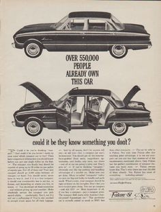 """1961 FORD FALCON vintage magazine advertisement """"550,000 people"""" ~ Over 550,000 people already own this car ... could it be they know something you don't? ~ Size: The dimensions of the full-page advertisement are approximately 10.5 inches x 13.5 inches (26.75 cm x 34.25 cm). Condition: This original vintage full-page advertisement is in Excellent Condition unless otherwise noted."""