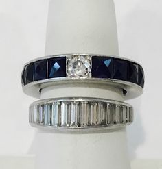 Lady's Platinum Sapphire and Diamond Rings | August 6, 2016 Auction at Rafael Osona Auctions Nantucket, MA