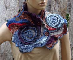 Crochet Neck Warmer Roses  Scarf  Freeform crochet door Degra2