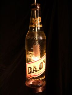 Dad's Rootbeer Bottle Lamp with Copper Trim Dads Root Beer, Beer Company, Beer Bottle, Brewing, Copper, Posters, Tags, Drinks, Crafts
