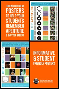Great posters for your classroom to visually show how the aperture and shutter speed effect your photos. Visual Literacy, Media Literacy, Literacy Skills, Similes And Metaphors, Shutter Speed, Slow Shutter, Teacher Resources, Education Posters