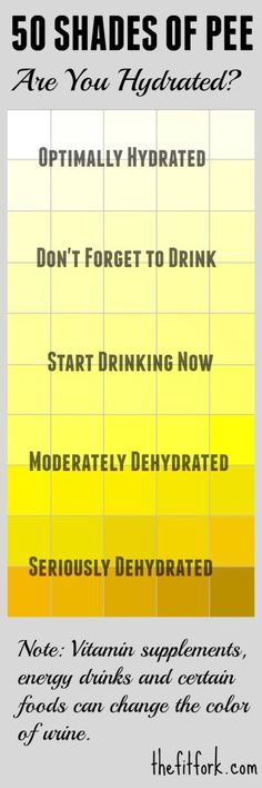 Use the '50 Shades of Pee' chart to check the color of your urine for hydration. Don't get dehydrated on your runs or workous! - TheFitFork.com