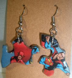 ◕★ Flash Comic #Book #Recycled Puzzle Dangle #Earrings by CurbedEarth #handmade http://etsy.me/2fNwB8T