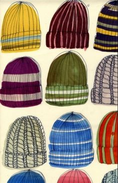 Luli Sanchez - Print of Knit Stocking Hats in Various Stitches, Patterns, and Colors - I need this for inspiration