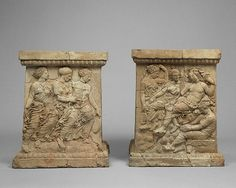 Pair of Altars with Aphrodite and Adonis; Greek, Taras, S. Italy, 400-375 B.C.; Terracotta and pigment; Getty Museum, Malibu