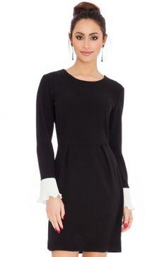 Krásne a elegantné čierne šaty COLOUR-BLOCK FLARED CUFFS MINI po kolená