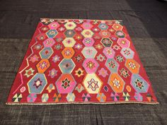 "Pink Anatolian Kilim Rug,6""x5,7"" Feet 183x170 Cm Home Living Room Decor Awesome Color And Pattern Turkish Kilim Rug,Turkish Kilim Rug."