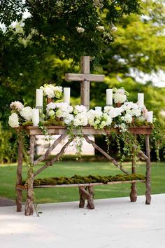 MUST DO! Highlight your faith with an elegant, rustic outdoor wedding alter to whom/whatever your beliefs praise! Wedding Ceremony Ideas, Wedding Altars, Ceremony Decorations, Outdoor Ceremony, Wedding Events, Our Wedding, Dream Wedding, Easter Altar Decorations, Southern Wedding Theme