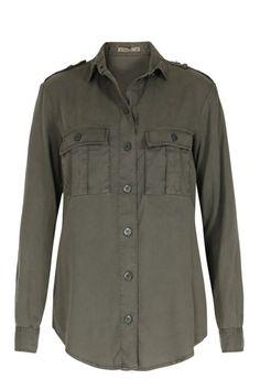 PATRIZIA PEPE Bluse im Military-Stil Khaki bei myClassico - Premium Fashion…