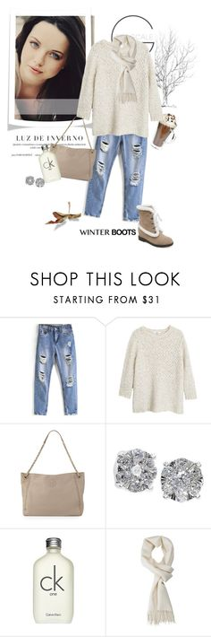 """""""Winter Boots"""" by rever-de-paris ❤ liked on Polyvore featuring MANGO, Tory Burch, Effy Jewelry, Calvin Klein, Winter, contest, polyvoreeditorial and winterboots"""