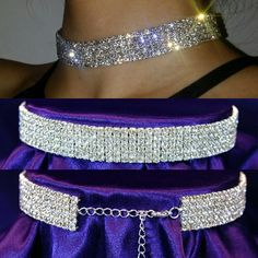 "Descriptions  5 Row Stretch Rhinestone Choker Necklace w/ Elastic Cord   Length: 12"" - 16"" (30.5cm - 40.5 cm) Adjustable   (Stretchable) with elastic cord inside   12 inches long without chain   Chain size: 4 inches   Width: 5/8"" (16 mm)   Material : High Quality Clear Austrian Crystal Rhinestone  Metal: Silver Plated Metal 