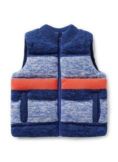 Boys Jackets & Coats | Mix Yarn Knit Puffa Vest | Seed Heritage