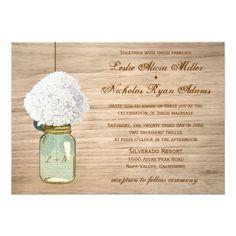 Country Rustic Mason Jar Hydrangea Wedding 5x7 Paper Invitation Card.  Invitations are discount sale priced 40% OFF when you order 100+ Invites. #wedding  http://www.zazzle.com/country_rustic_mason_jar_hydrangea_wedding_invitation-161050492339377743?rf=238133515809110851&tc=PinterestMsPlnr