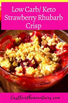 This gorgeous Keto Strawberry Rhubarb Crisp recipe will make you feel nostalgic. The ruby red fruit and cinnamon topping are perfect match.