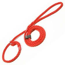 Rope slip lead Red Spliced with a looped handle and sliding neck stop Perfect size for your pocket Manufactured in the