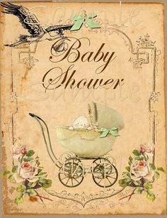 "Vintage Baby Shower Printable Flat Card - 5"" x 7""- Single Image -  Printable Digital Collage Sheet - INSTANT DOWNLOAD"