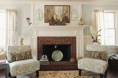 Traditional Living Room with Fireplace Mantle Decorated
