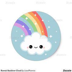 Kawaii Rainbow Cloud Classic Round Sticker