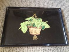 RARE Vintage Couroc of Monterey California Green Inlaid Hanging Plant Large Tray