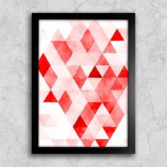 Poster Red Triangles - Encadreé Posters. Encontre a arte perfeita para sua decoração na Encadreé Posters.  Palavras-chave: parede decorada, parede de quadros, posters, quadros, decor, decoração, presentes criativos, arte, ilustração, decoração de interiores, decoração criativa, quadros decorativos, posters com moldura, quadros modernos, decoração moderna, quadros tumblr, quadros abstratos, posters abstratos, arte abstrata, triangulos, geometricos