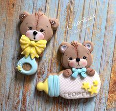Baby Teddy Bears 🧸 Baby Boy Cookies, Teddy Bear Cookies, Baby Teddy Bear, Baby Shower Cookies, Teddy Bears, Kawaii Cookies, Cute Cookies, Baby Birthday Cakes, Cookie Designs