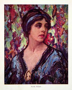 1927 Color Print John Littlejohns Portrait Colorful Bold Pattern Woman Lady Art