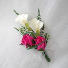 WEDDING FLOWERS - CALA LILY AND ROSE LADIES CORSAGE, IVORY AND HOT PINK
