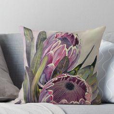 'Protea Flower Watercolour ' Throw Pillow by KtzArt Protea Plant, Protea Flower, Watercolor Flowers, Watercolour, Flower Tattoos, Pillow Covers, Canvas Art, Vibrant, Throw Pillows