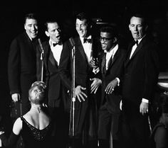 Rat_PackThe Rat Pack, Frank Sinatra, Dean Martin, Sammy Davis Jr., Joey Bishop, Peter Lawford The Summit at the Sands, Las Vegas.
