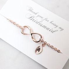 Rose gold infinity bracelet Bridesmaid gift Personalized
