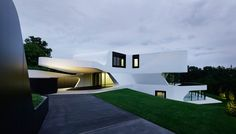 Außenansicht beleuchtet, Luxus EFH Villa Dupli Casa in Ludwigsburg