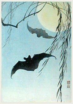 'Bats and Full Moon' by Ito Sozan (published by Watanabe Shozaburo), 1920s/30s