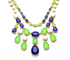Gold Chain Neon Green Opal Candy Color Navy Blue Waterdrop Beads Necklace $29.99
