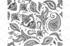 Seamless floral retro background pattern in vector. Henna paisley mehndi doodles design. Easy editing. - Illustrations - 1