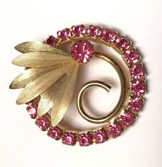 Pink Rhinestone Circle Brooch Flower Leaf Retro by PastSplendors
