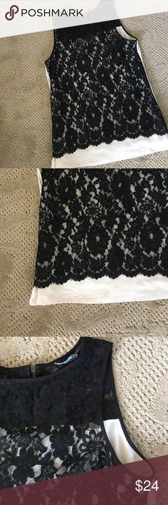 Karen Kane ivory shell w/ lace overlay EUC. Karen Kane Tops