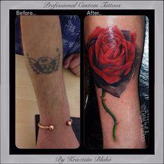 Cover up rose tattoo, before and after, by Krisztián Blahó at Dèjá VuDoo, Lerwick, Shetland.