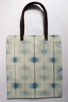 Katano Shibori Plant Dyed Hemp Tote Bag Canvas Tote Shoulder Bag with Leather Handles Indigo Blue