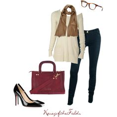 """Cute, but with boots instead of pumps    """"Tan and Burgandy"""" by kaseyofthefields on Polyvore"""