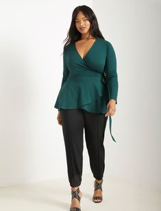 View our Peplum Wrap Top and shop our selection of plus size designer women's Tops, plus size clothing and fashionable accessories. Hipster Grunge, Grunge Style, Soft Grunge, Trendy Plus Size Clothing, Plus Size Blouses, Plus Size Tops, Plus Size Outfits, Plus Size Women, Trendy Plus Size Fashion